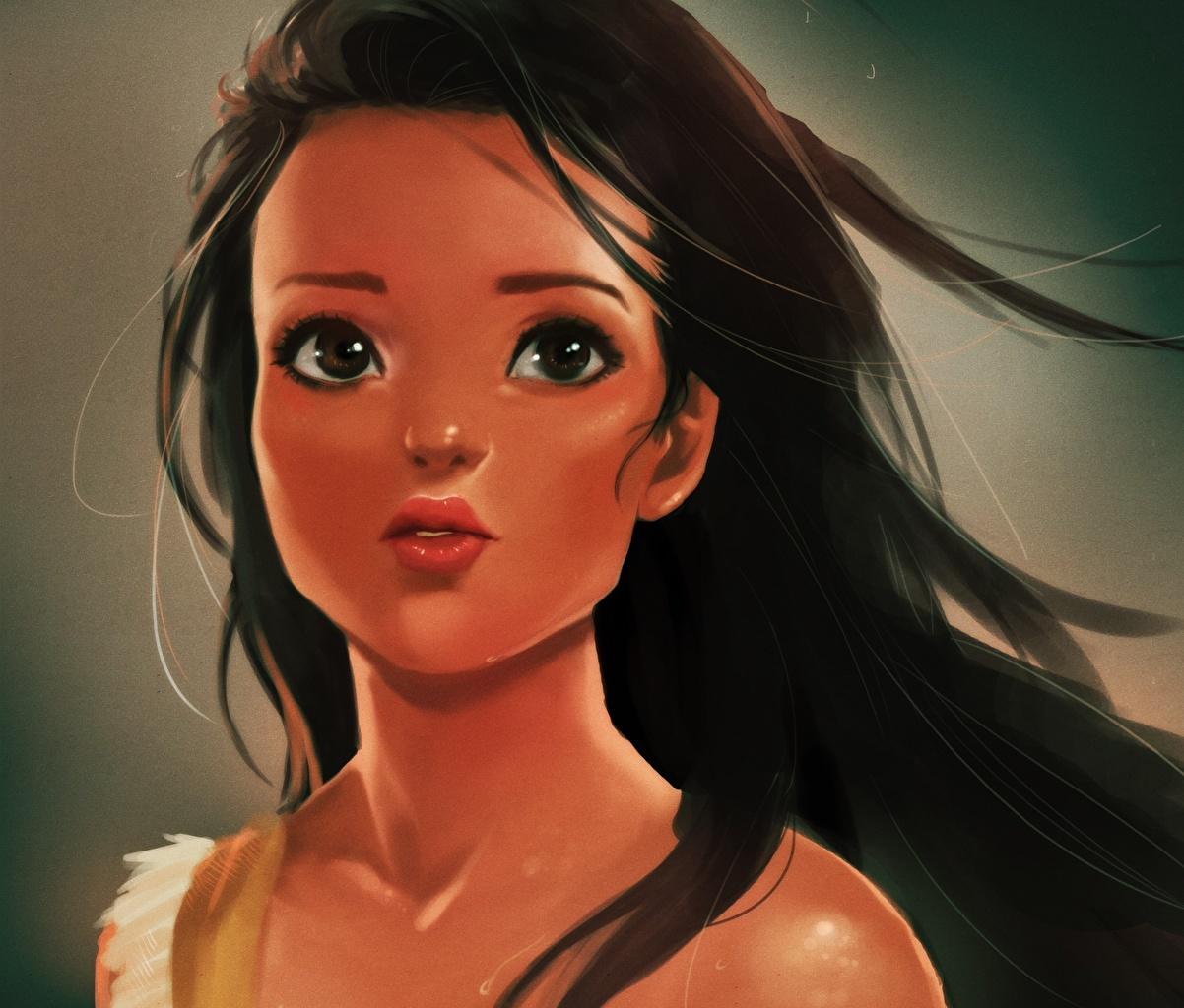 Fonds D Ecran Disney Pocahontas Visage Cheveux Noirs Fille