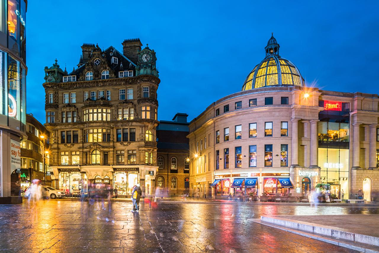 Fotos von Lichtstrahl England Newcastle Stadtstraße Abend Haus Städte Straße Gebäude