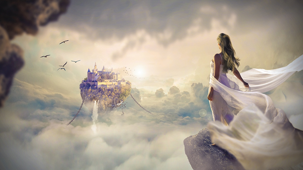 Image Crag female Castles Fantasy Sunrises and sunsets Clouds frock Rock Cliff Girls castle young woman sunrise and sunset gown Dress