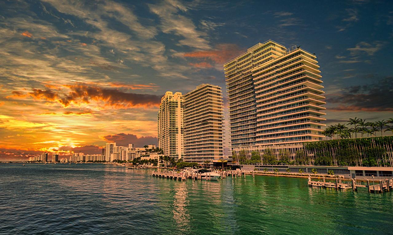 Image Miami USA Sunrises and sunsets Pier Coast Houses Cities sunrise and sunset Berth Marinas Building