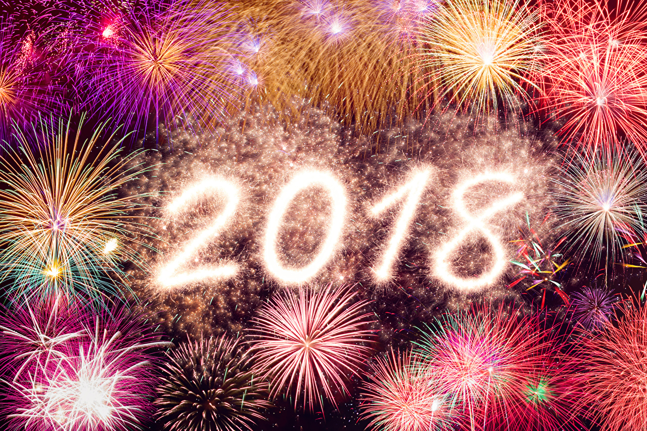 Wallpaper 2018 Fireworks Christmas New year