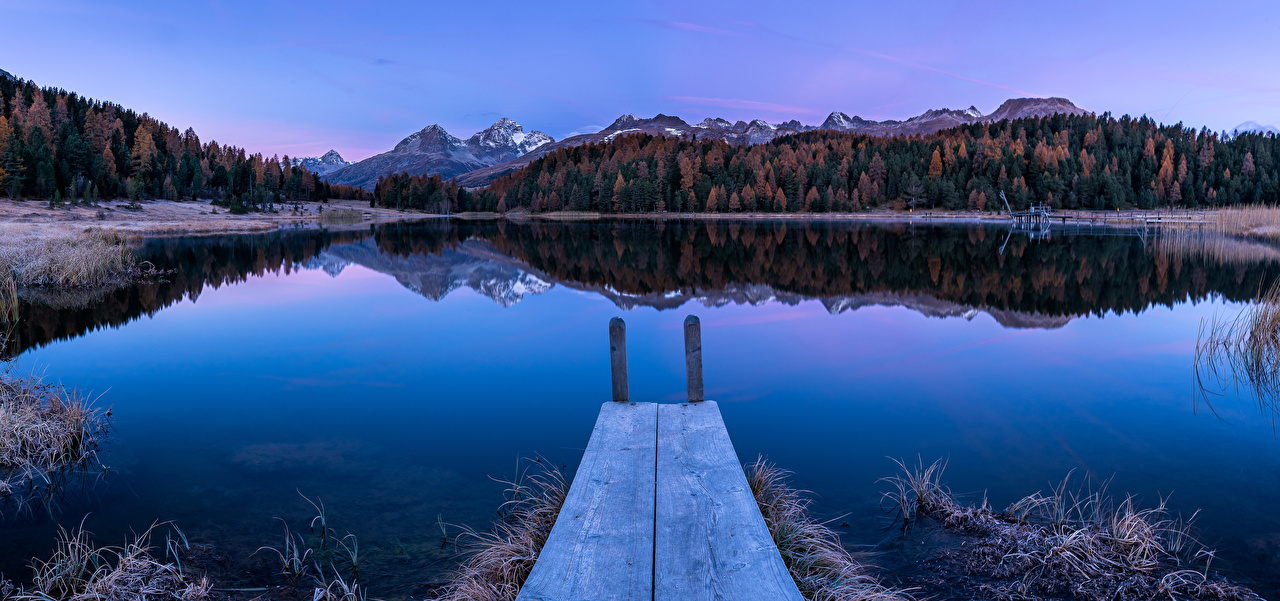 Images Alps Switzerland Frost Lake of Staz Nature Autumn Mountains Morning Berth mountain Pier Marinas