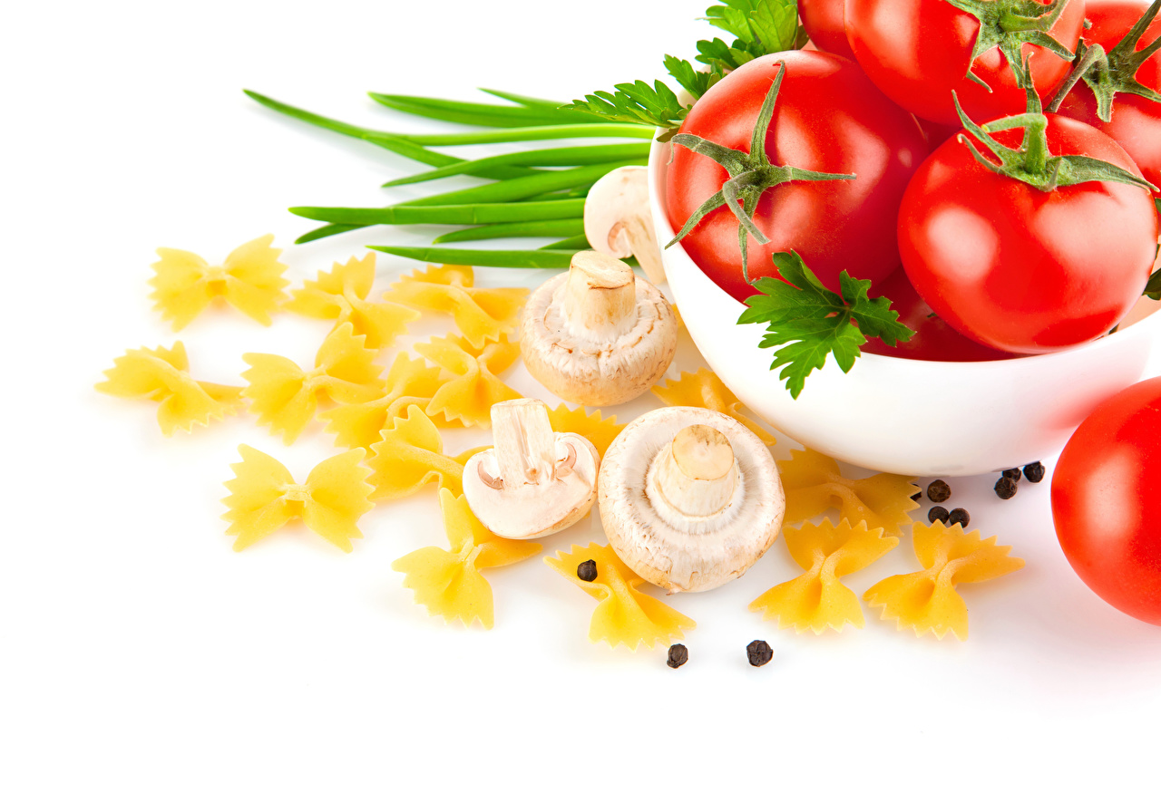 Image Food Tomatoes Black pepper White background Mushrooms Pasta Vegetables Agaricus bisporus Champignon