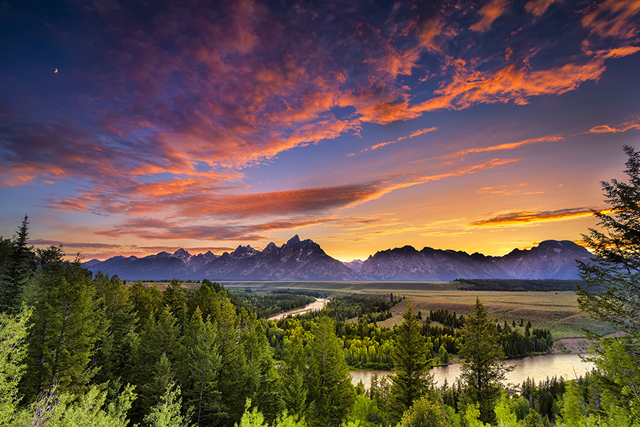 Photo USA Wyoming Grand Teton Nature mountain Sky Parks Scenery Clouds Mountains park landscape photography