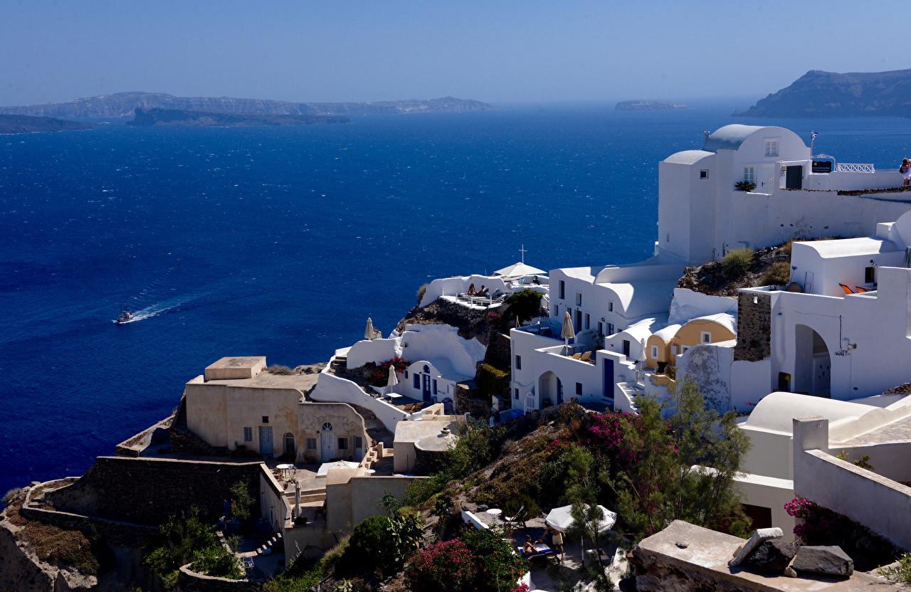 Afbeeldingen Santorini Griekenland De zee Huizen Steden thera gebouw gebouwen een stad
