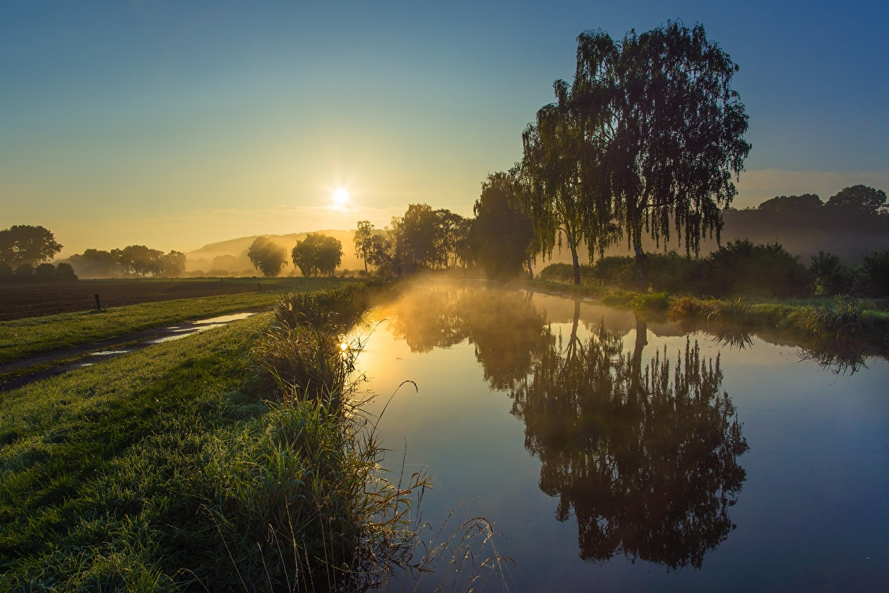 Picture Fog Sun Canal Nature Morning Reflection Sunrises and sunsets Grass Trees reflected sunrise and sunset