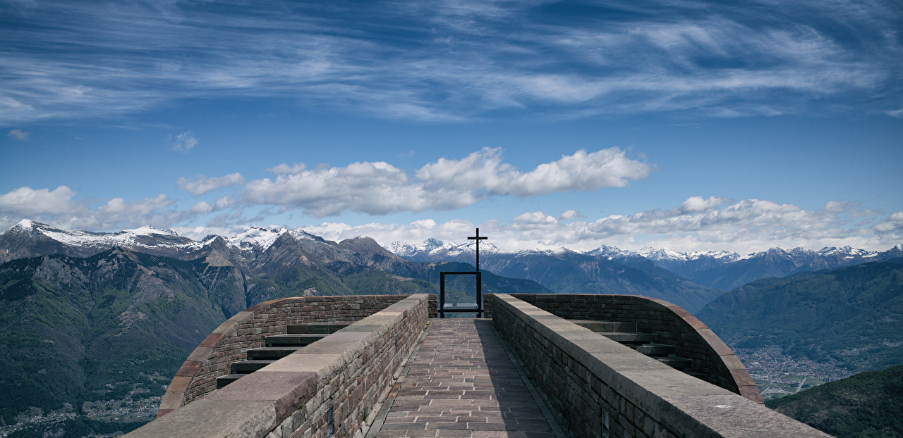 Wallpaper Church Alps Switzerland Corte di Sopra Nature Mountains Cross Clouds mountain