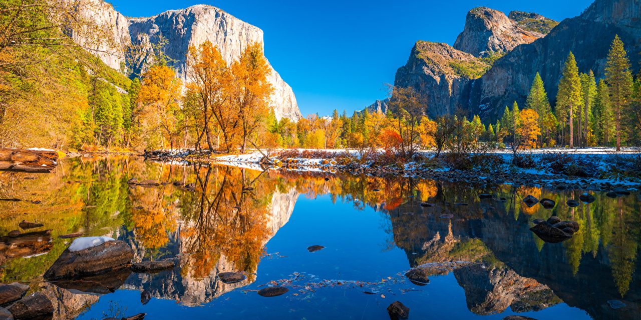 Picture Yosemite California USA Cliff Autumn Nature Mountains Parks Reflection Trees Rock Crag mountain park reflected