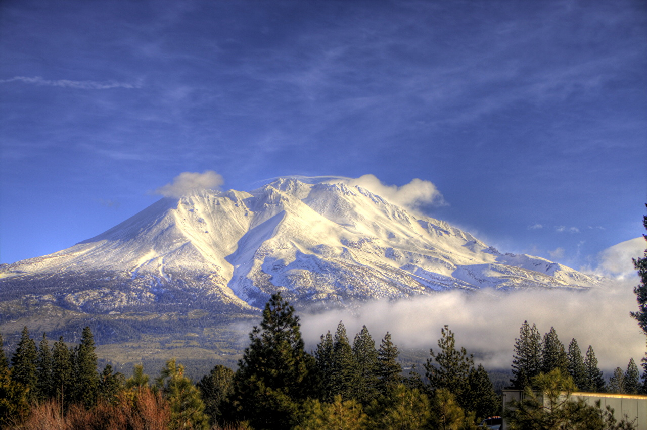 Images California USA Shasta HDR Nature mountain Snow Scenery HDRI Mountains landscape photography