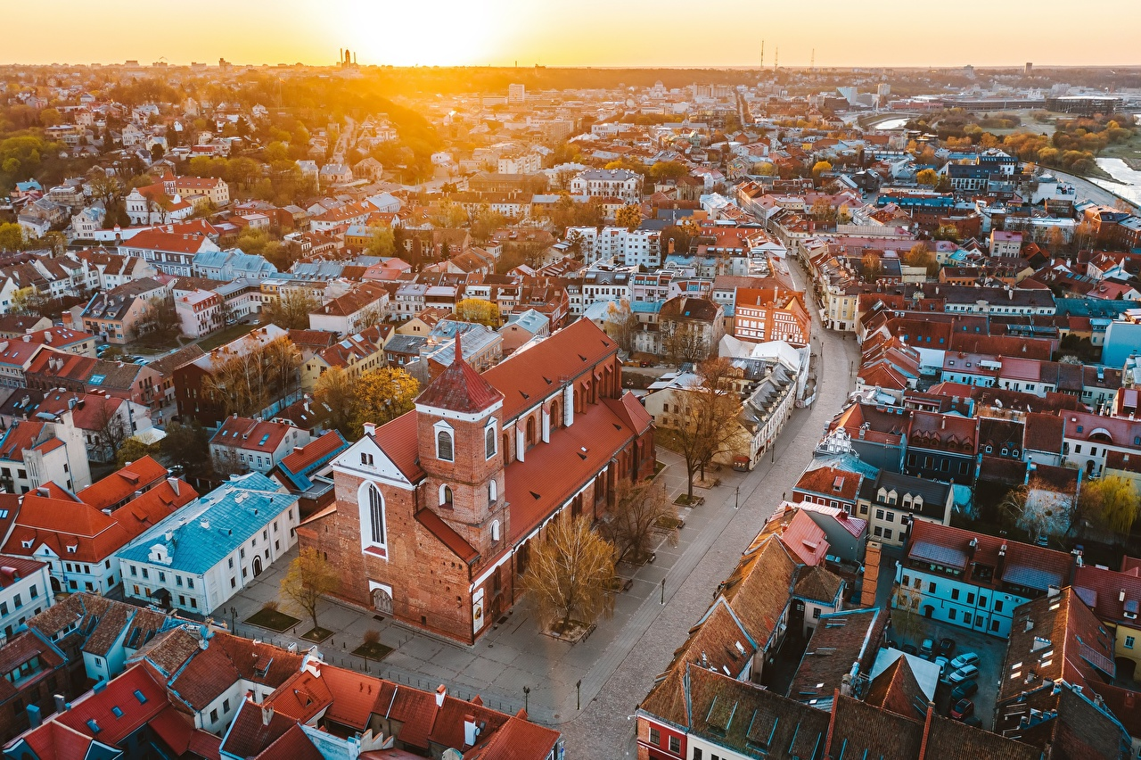 Images Lithuania Kaunas old town sunrise and sunset From above Houses Cities Sunrises and sunsets Building