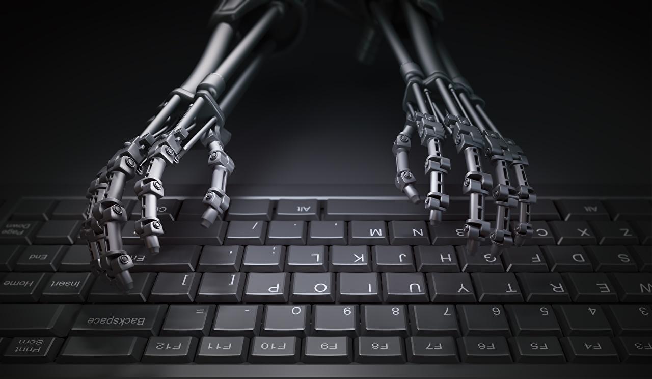 Photo Keyboard robots Hands Computers Robot