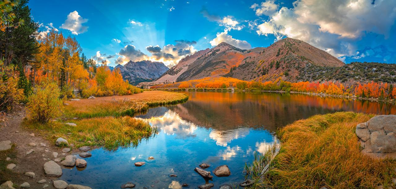 Desktop Hintergrundbilder Kalifornien Vereinigte Staaten Panorama Berg Natur Herbst See Reflexion Landschaftsfotografie Wolke USA Panoramafotografie Gebirge spiegelt Spiegelung Spiegelbild