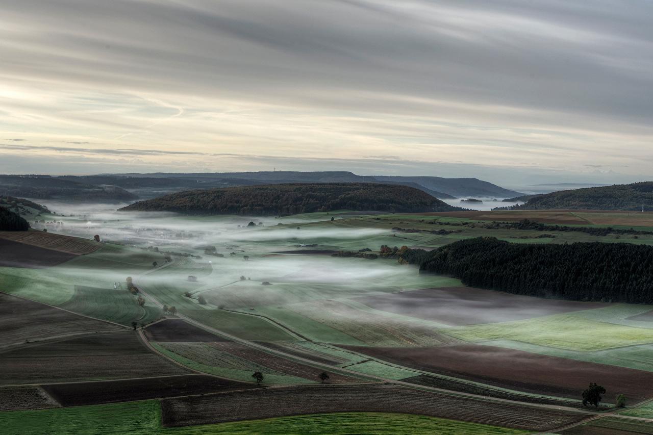 Desktop Wallpapers Germany Fog Nature Fields From above Landscape design