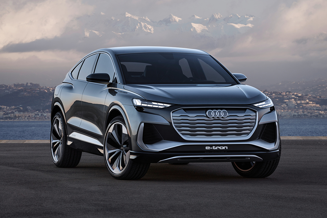 Images Audi CUV Q4 Sportback e-tron Concept, 2020 Cars Front Metallic Crossover auto automobile