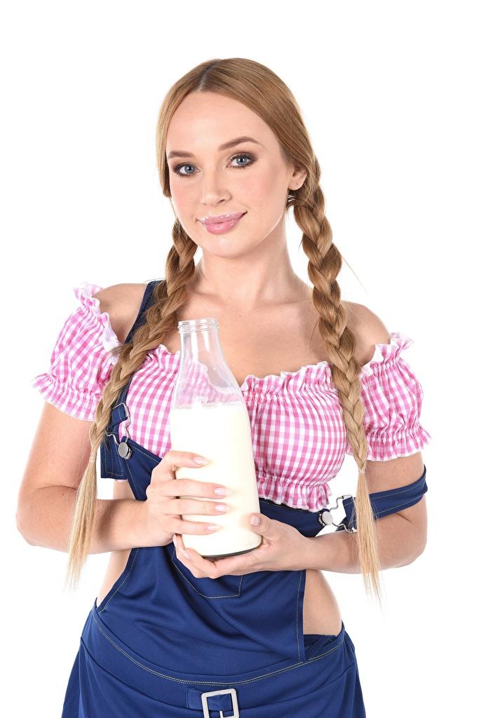 Image Milk Kaisa Nord Dark Blonde plait Girls Hands Bottle Staring  for Mobile phone Braid hair female young woman bottles Glance