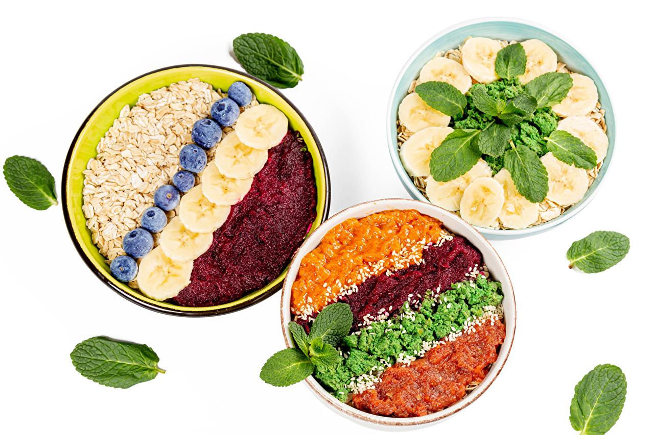 Images Oatmeal Blueberries Food Fruit Plate Muesli Three 3 Vegetables White background