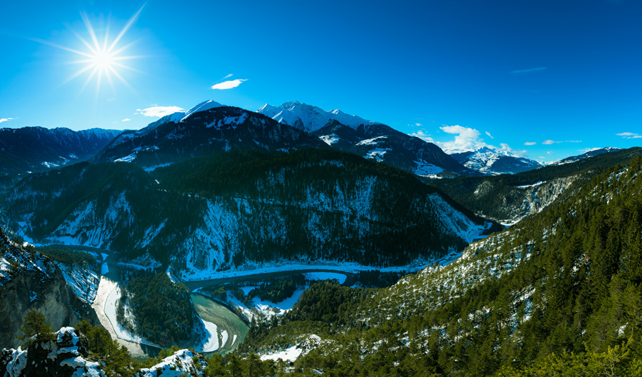 Picture Alps Switzerland Ruinaulta Sun Nature Canyon Mountains Sky Forests landscape photography Trees canyons mountain forest Scenery