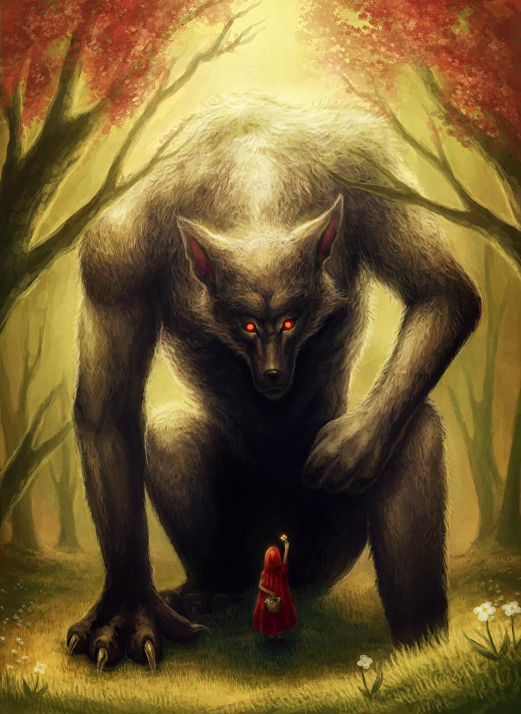 Image Little girls Wolves Fantasy  for Mobile phone wolf