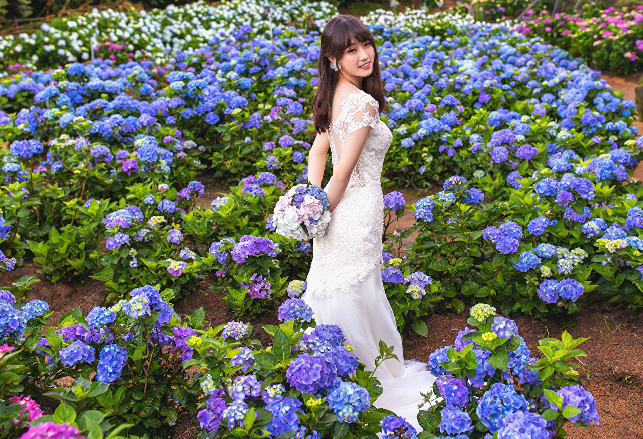 Images Bride Bouquets female Asiatic Staring Dress brides bouquet Girls young woman Asian Glance gown frock