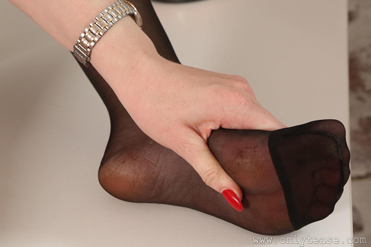 Desktop Hintergrundbilder Strumpfhose Mädchens Bein Hand Finger Nahaufnahme junge frau junge Frauen hautnah Großansicht