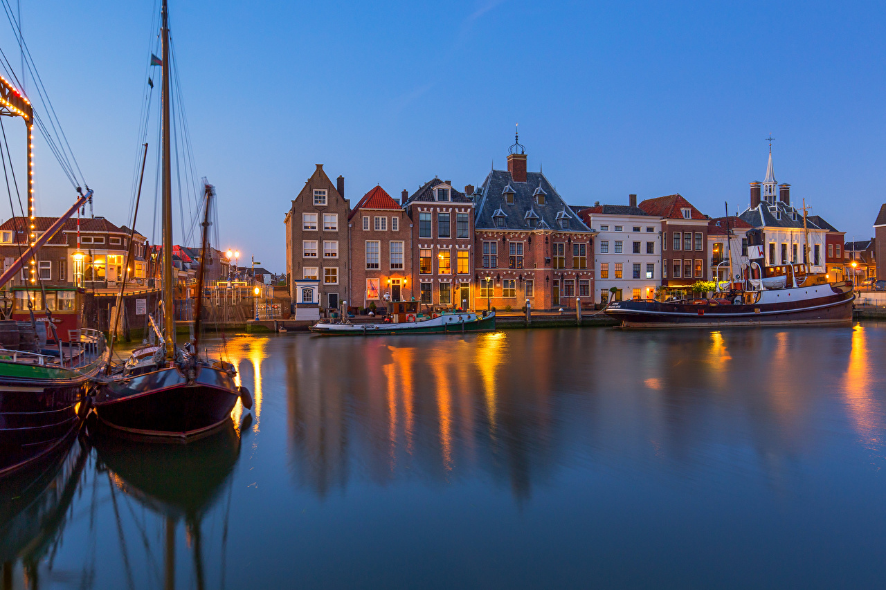 Wallpaper Netherlands Maassluis Pier Boats Cities Building Berth Marinas Houses