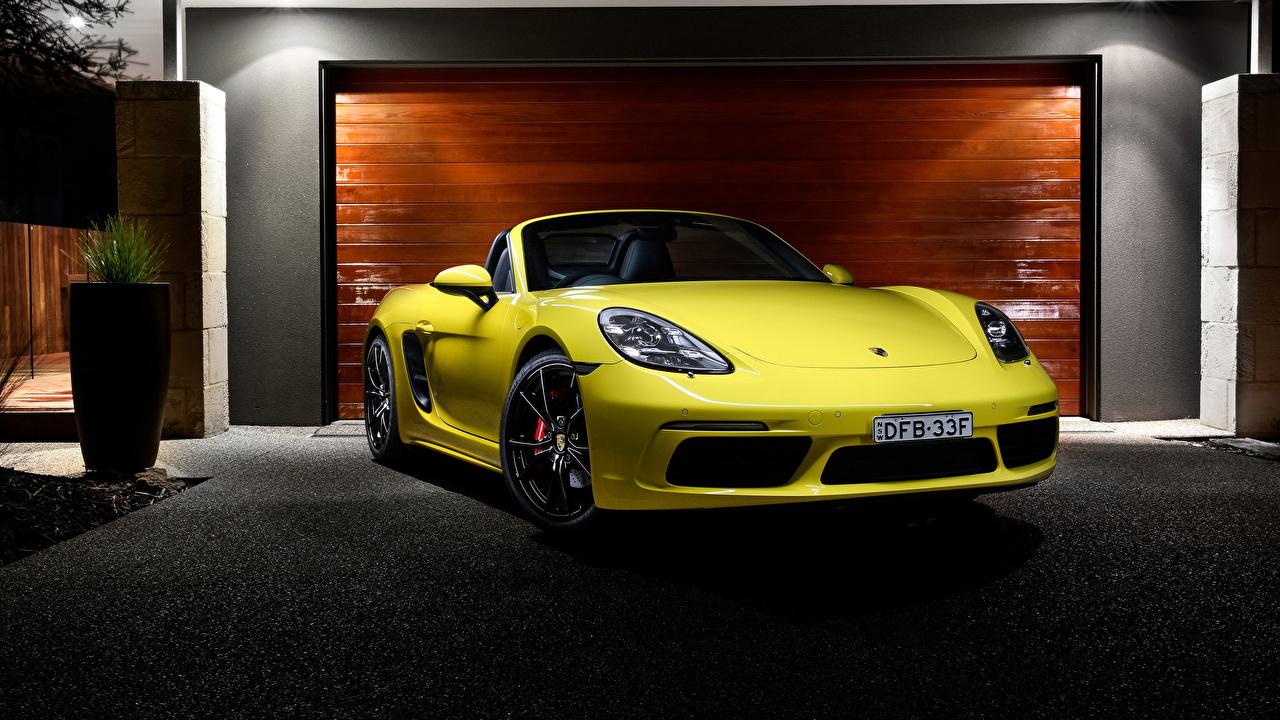 Desktop Wallpapers Porsche Boxster Roadster Yellow Cars Front Metallic auto automobile