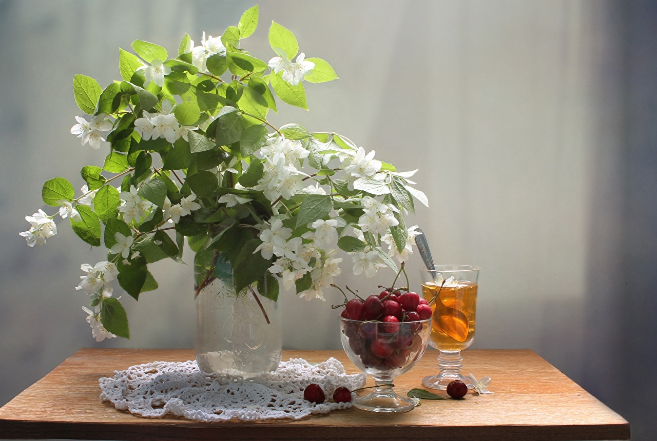Desktop Wallpapers Jasmine bouquet Tea Cherry flower Food Table Still-life Bouquets Flowers