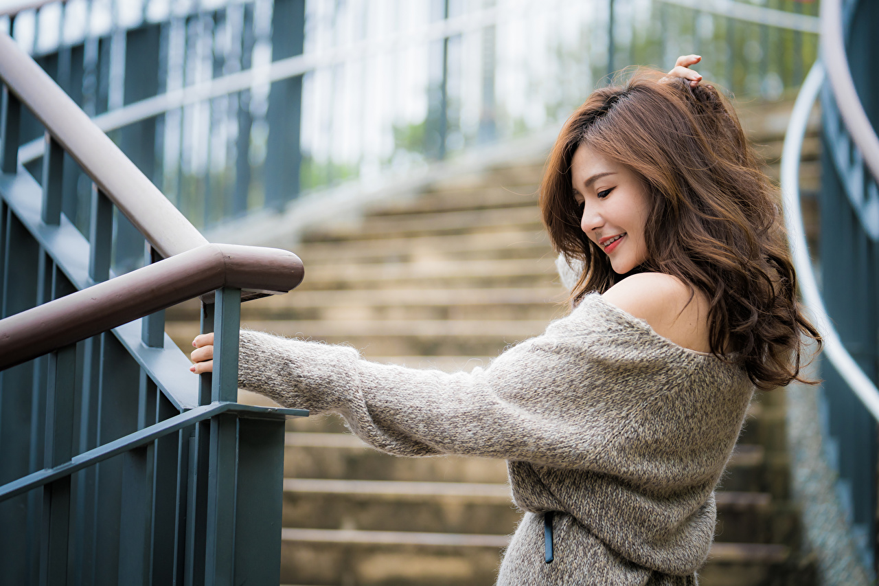Desktop Wallpapers Brown haired Smile Bokeh Hair Girls Asiatic Sweater blurred background female young woman Asian