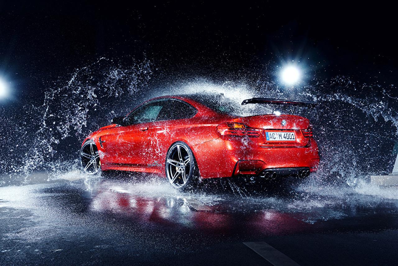 Images BMW M4 AC-Schnitzer German Red Water splash Cars auto automobile