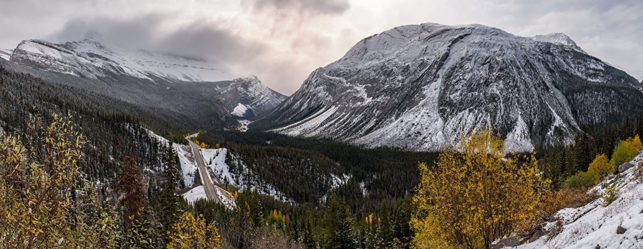 Wallpaper Nature Canada Alberta Mountains panoramic Roads landscape photography mountain Panorama Scenery