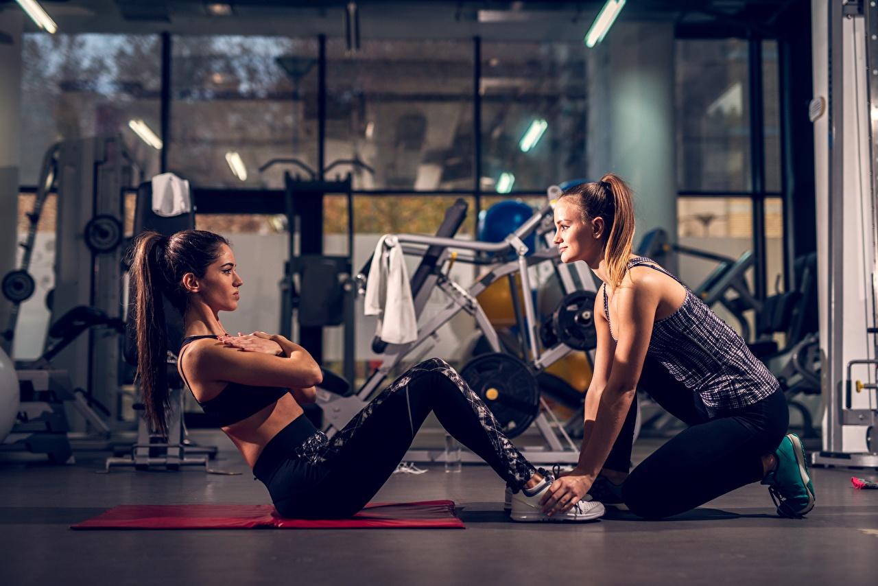 Fotos von Fitnessstudio Körperliche Aktivität ABS Fitness Zwei sportliches junge Frauen Turnhalle Trainieren 2 Sport Mädchens junge frau