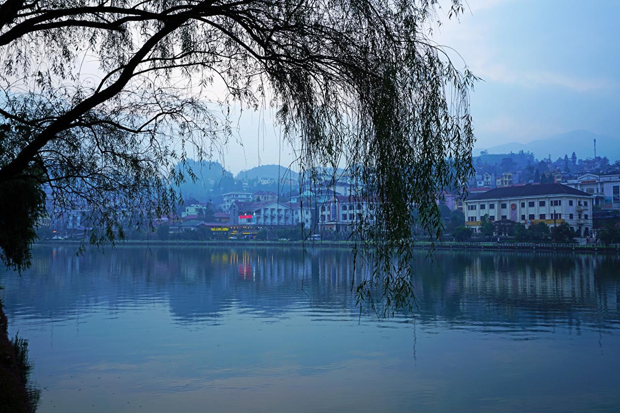 Bilder Vietnam Lao Cai Ast Abend Flusse Städte Gebäude Haus