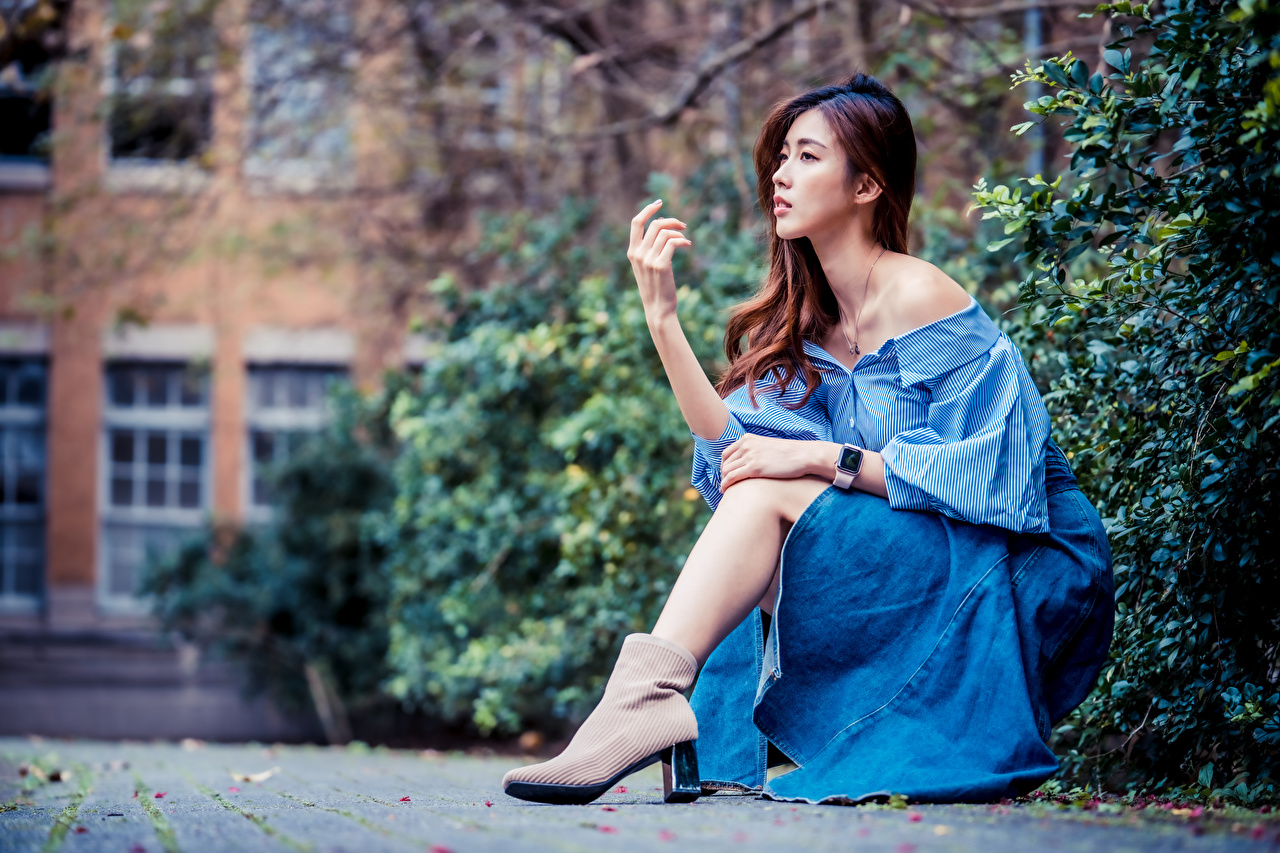 Photo Bokeh female Asian Hands Sitting Dress blurred background Girls young woman Asiatic sit gown frock