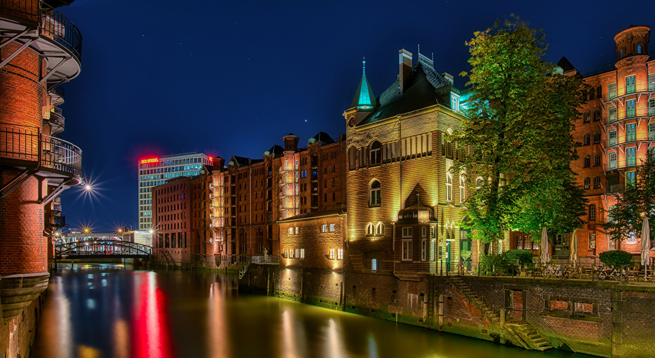 Photo Rays of light Hamburg Germany stairway Rivers night time Cities Building Stairs staircase river Night Houses