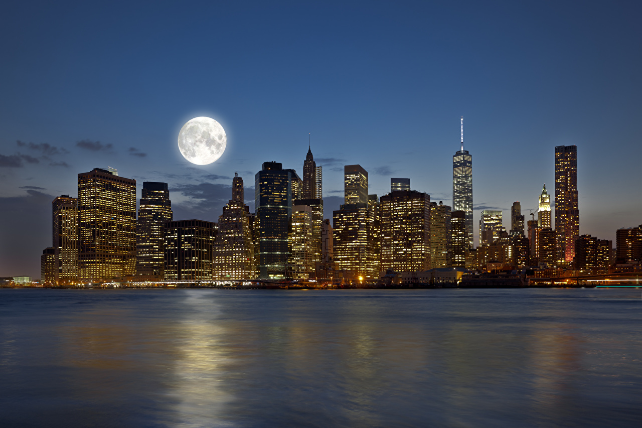 Picture Manhattan New York City USA Moon Rivers night time Cities Building river Night Houses