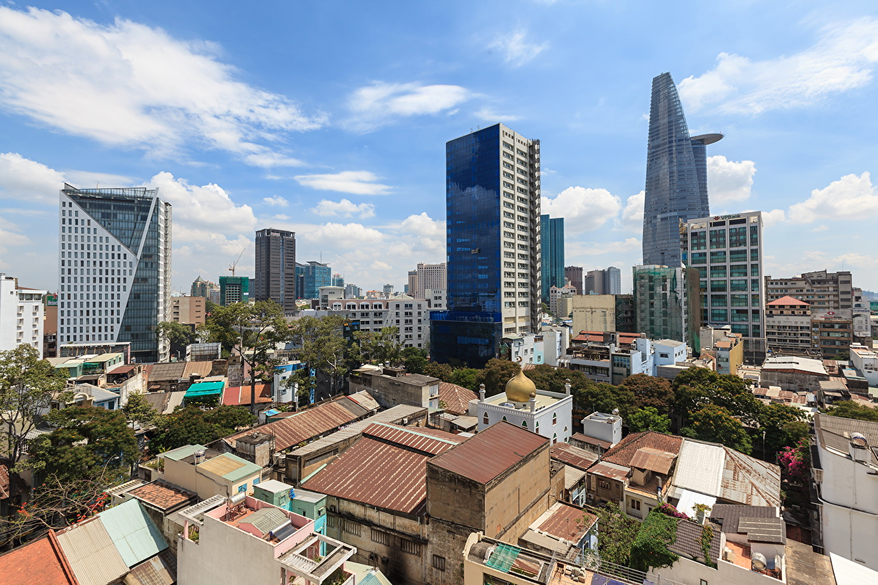 Pictures Ho Chi Minh Vietnam Sky Houses Cities Building