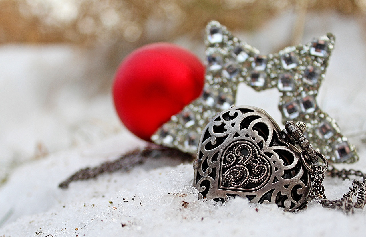 Images Heart Pocket watch Snow Chain Jewelry