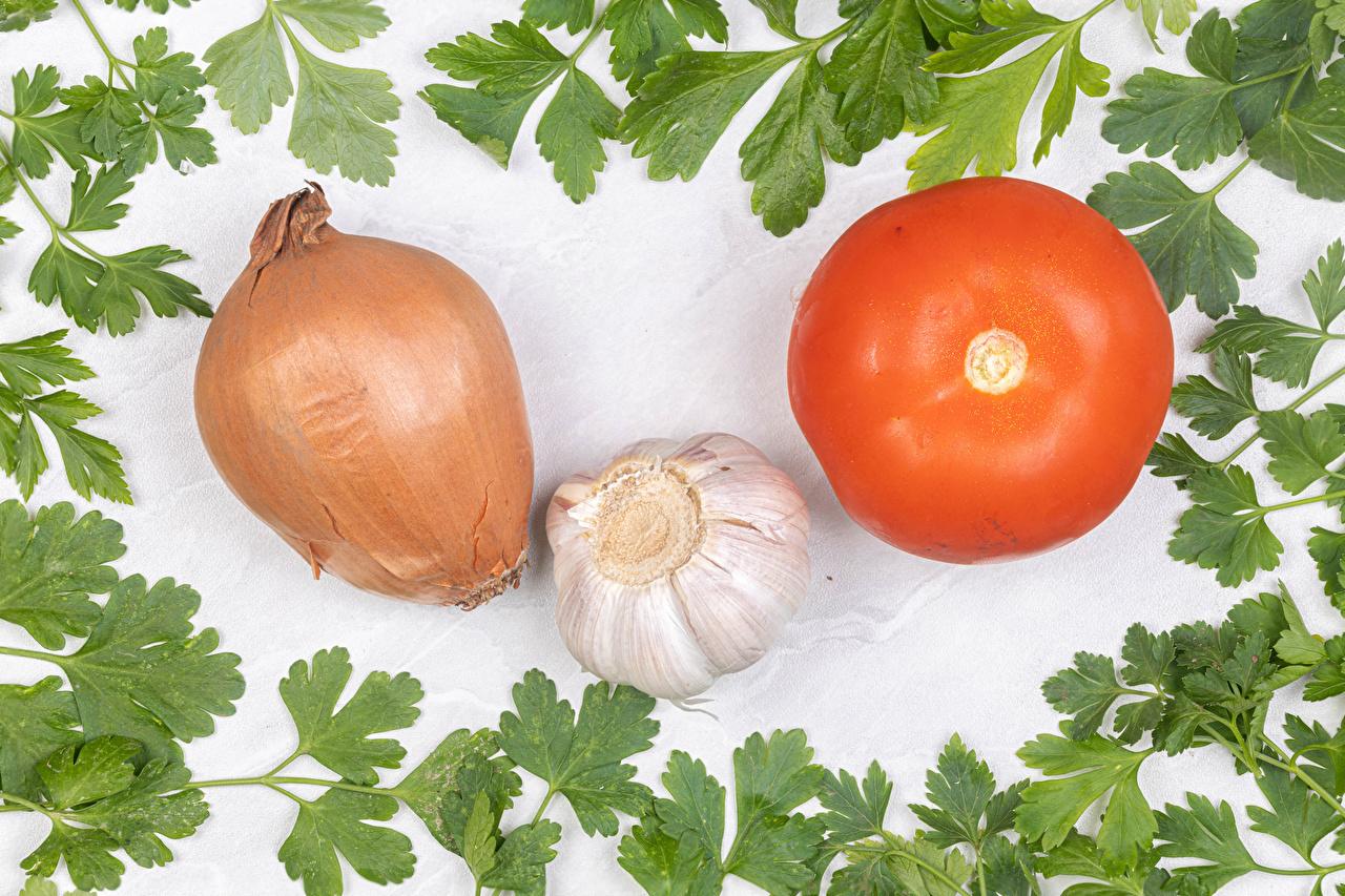 Picture Onion Tomatoes Allium sativum Food Vegetables White background Garlic