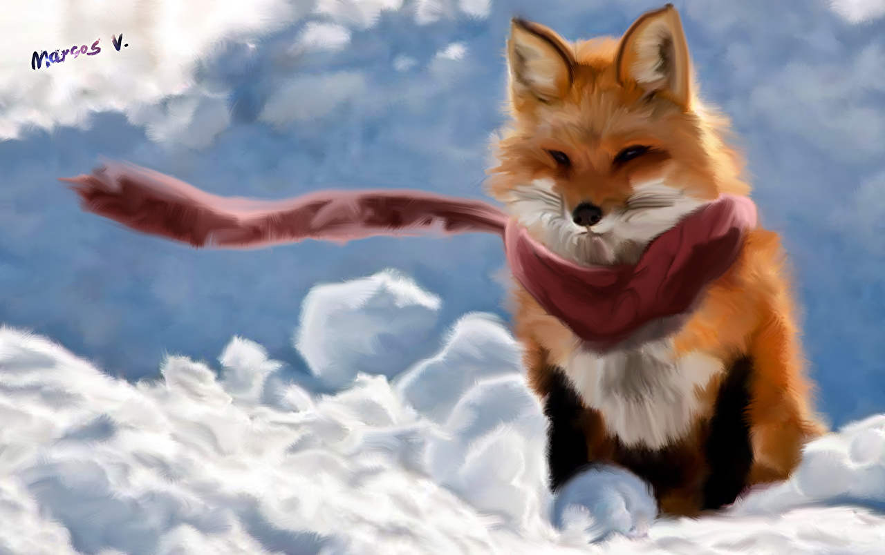 Image Foxes Snow Pictorial art animal Animals