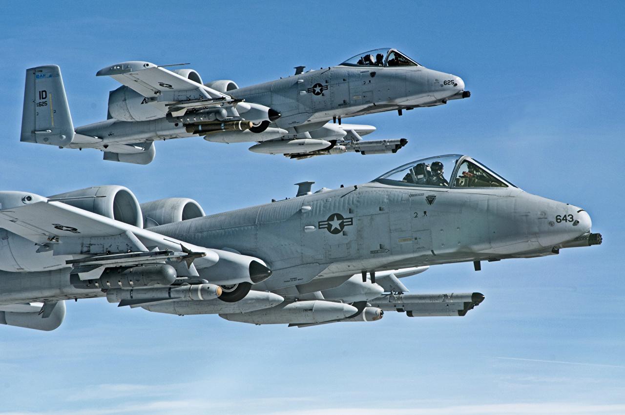 zdjęcie A-10 Thunderbolt II Samolot szturmowy samolot HDR Dwa 2 Niebo Lot Wojska Lotnictwo Samoloty dwie dwoje dwóch latająca