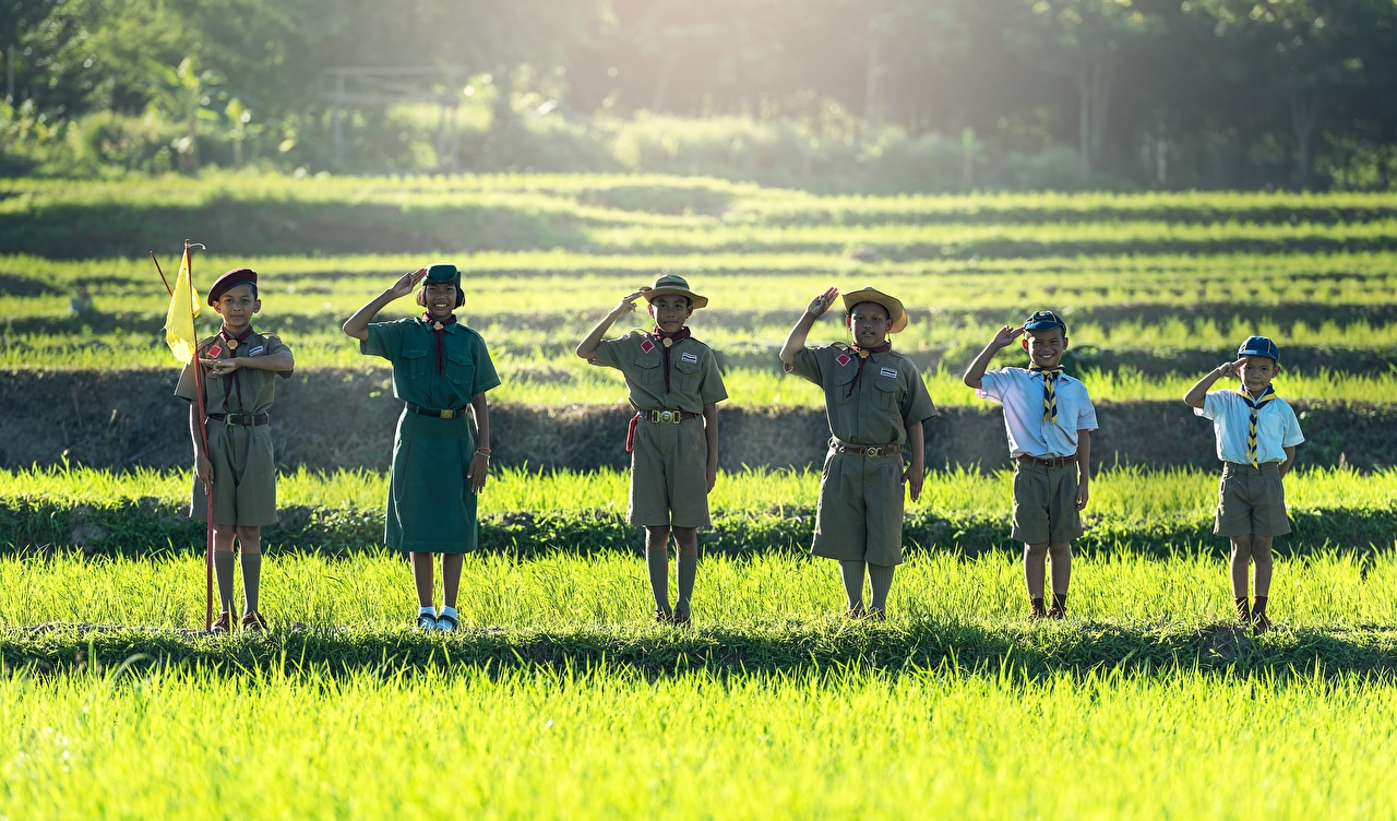 Immagini Piccola ragazza Ragazzino Scout Sorriso Bambini Cappello asiatico Bandiera Erba Uniforme Pantaloncini piccola ragazze bambino Asiatici