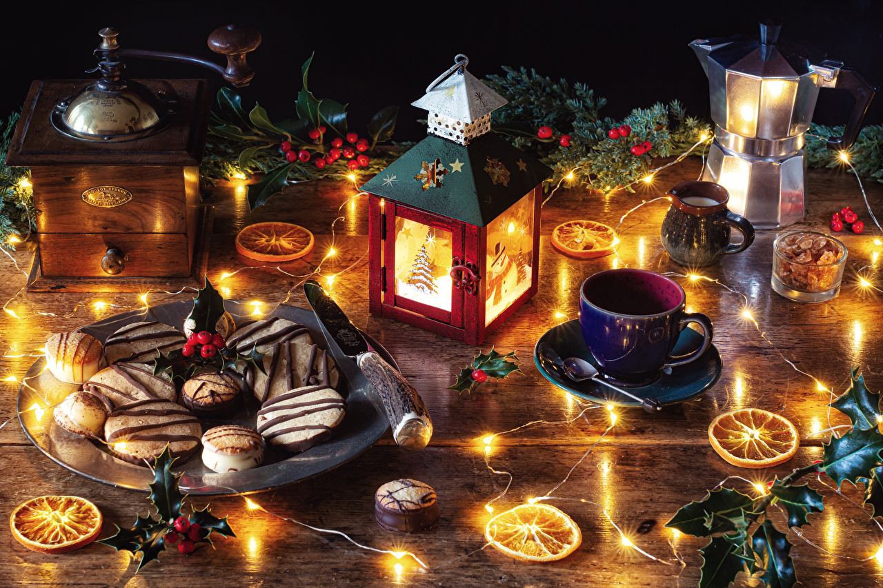 Wallpaper New year Kettle Cup Food Berry Candles Cookies Branches Fairy lights Still-life Christmas