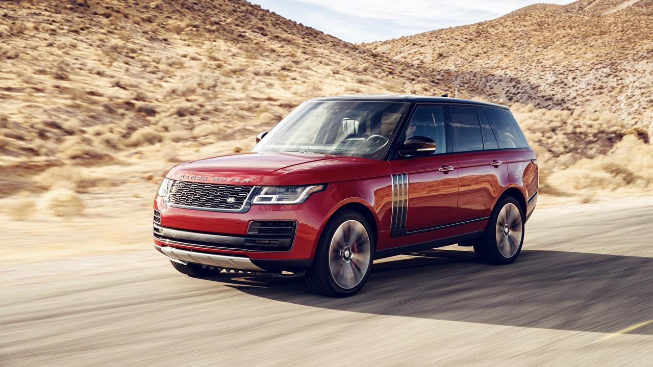 Fotos Land Rover 2018 Dynamic Rot Bewegung Autos fährt fahren fahrendes Geschwindigkeit