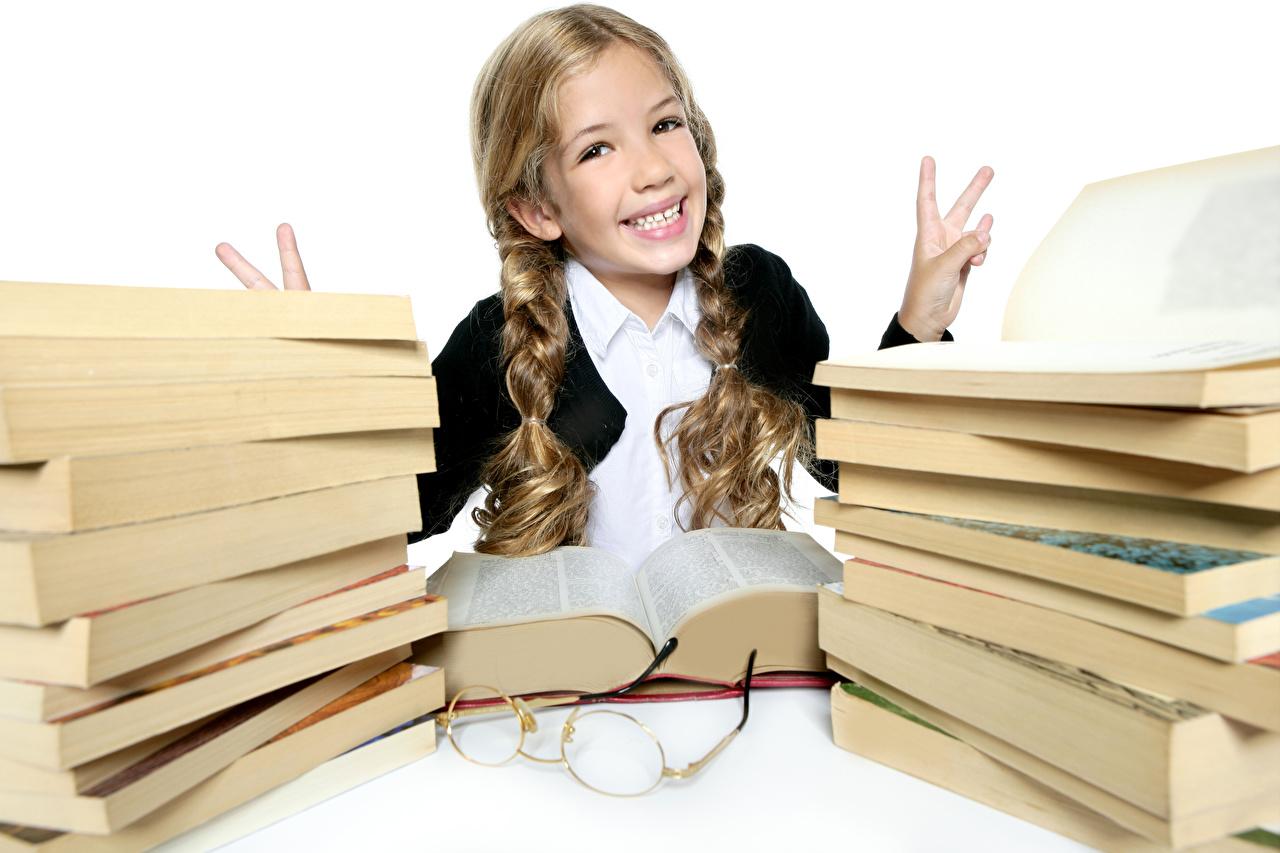 Image Little girls School Joy child Book Fingers eyeglasses happy joyful Children books Glasses