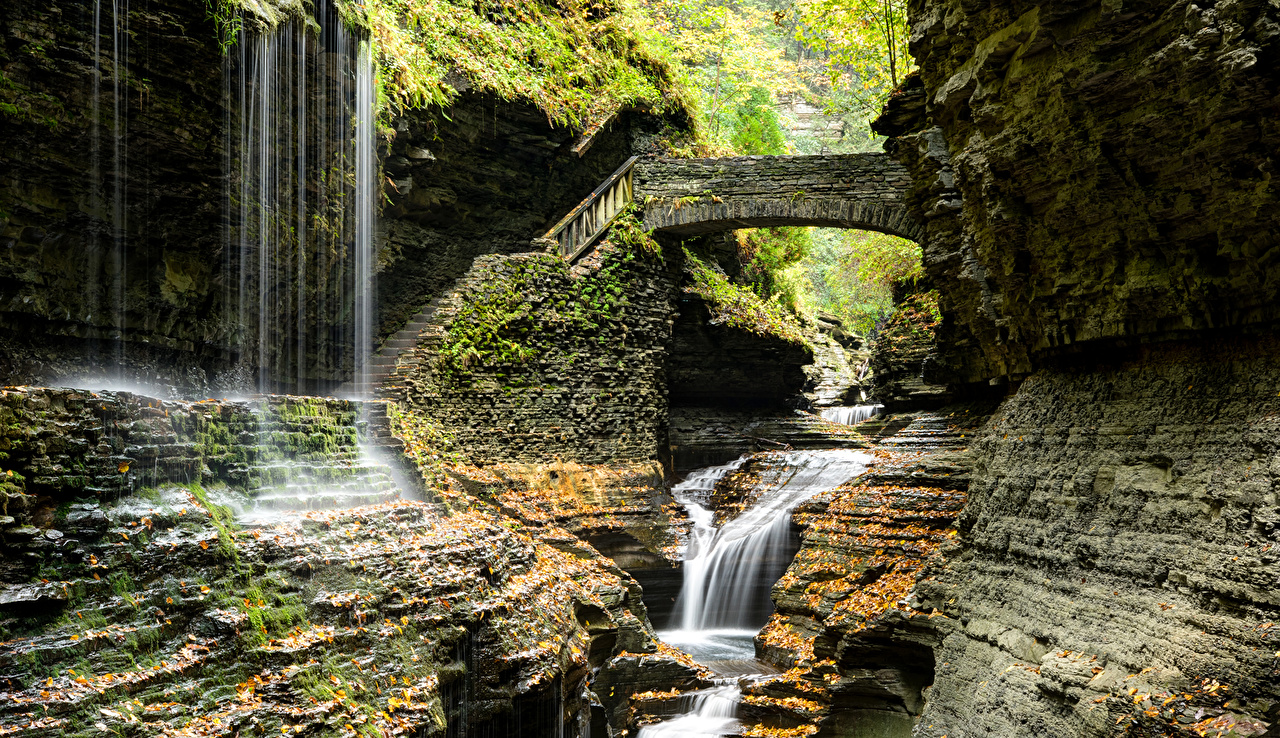 Photo New York City USA Watkins Glen State Park Nature Bridges stairway Waterfalls park bridge Stairs staircase Parks