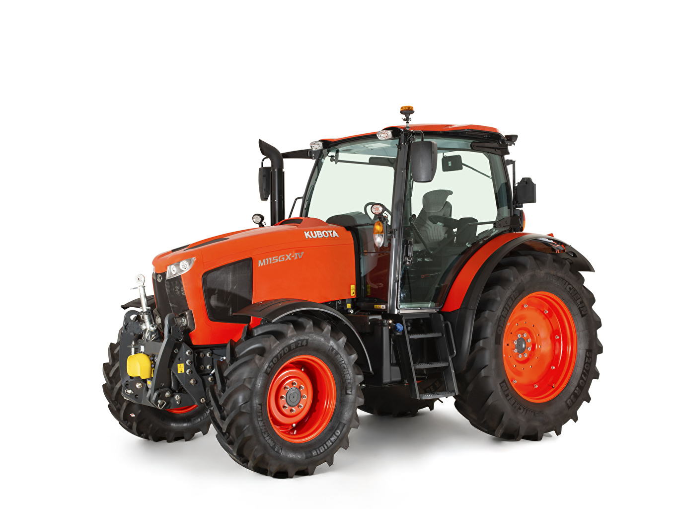 Picture Tractor Kubota M115GX-IV, 2018 -- Red White background tractors