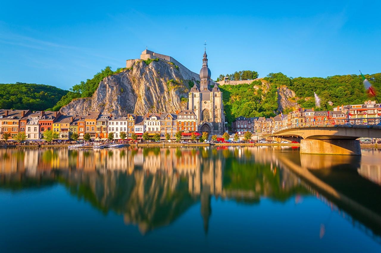 Afbeelding België Dinant falesia Water De kust Huizen Steden klif landform gebouw gebouwen een stad