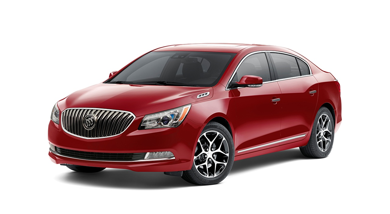 Images Buick LaCrosse, Sport Touring, 2015 Sedan Red automobile White background Cars auto