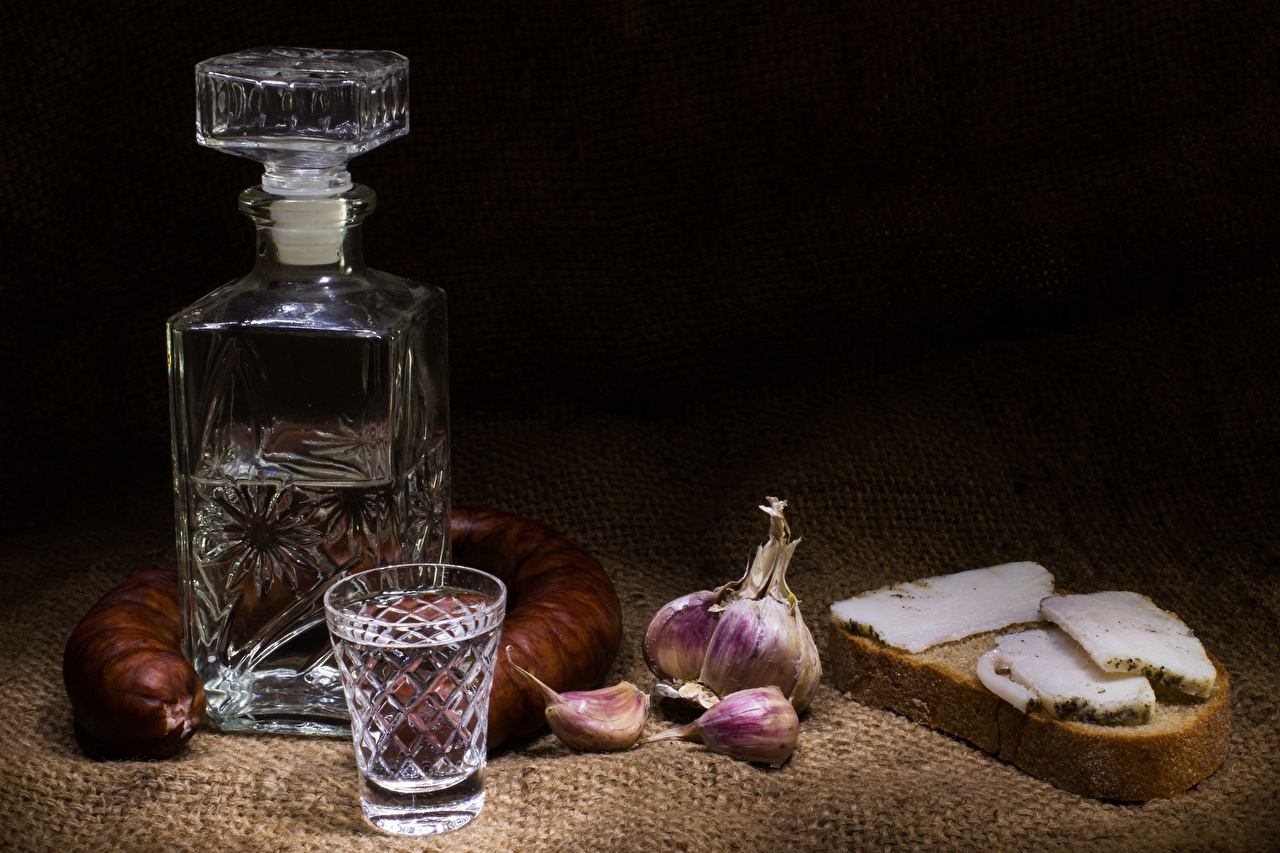 Image Vodka Sausage Salo - Food Bread Garlic Food Bottle Shot glass Allium sativum bottles