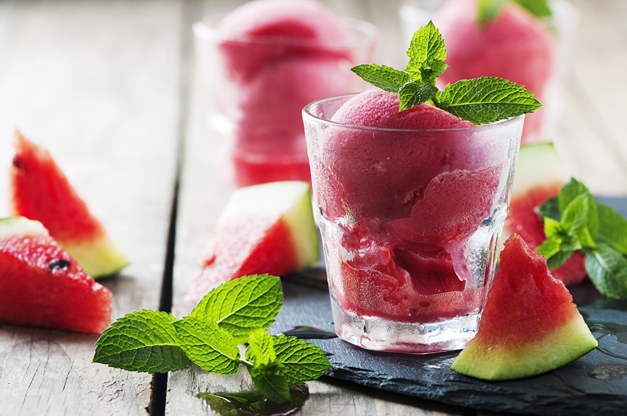 Photos Ice cream pieces Mentha Dessert Watermelons Highball glass Food mint Piece